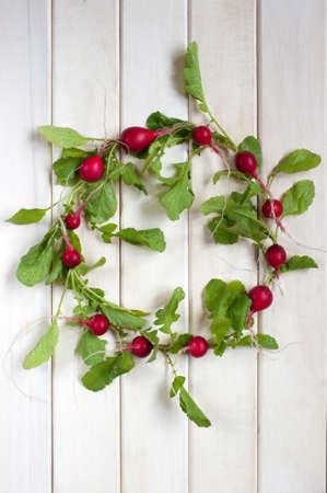 radishes: Wreath of fresh radishes