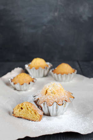 morsel: Cupcakes on the wooden table Stock Photo