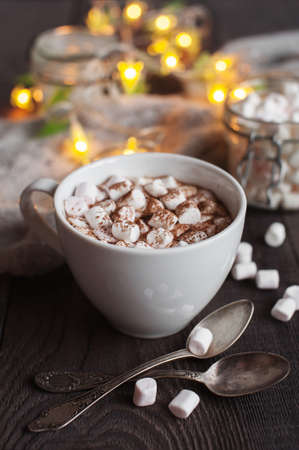 The cup of cacao with marshmallow and garland