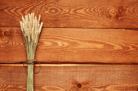 rufous: Wooden natural rufous background with wheat sheaf