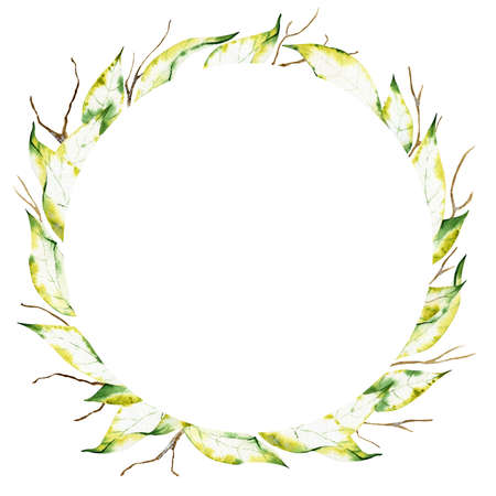 Watercolor wreath of dry autumn leafs and branches isolated on the white background