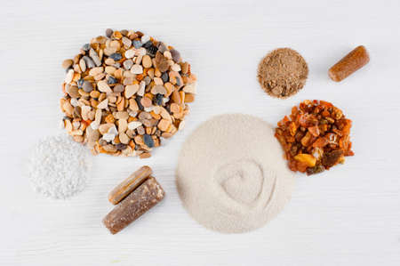 Abstract composition of sand, pebble and stones, flat lay  Stock Photo