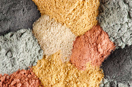 Various kinds of cosmetic clay