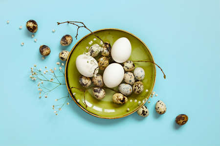 Chicken and quail easter eggs on the green plate decorated with branches and flowers, blue background