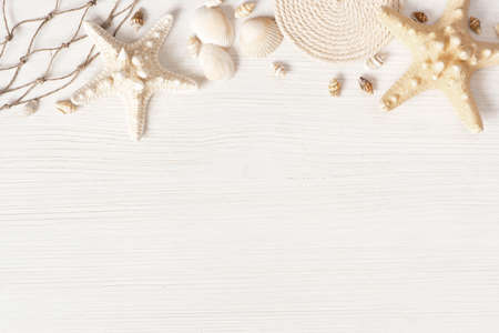 White textured wooden surface decorated with sea shells, copy space Imagens