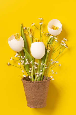Bouquet of flowers of eggshells on the yellow background