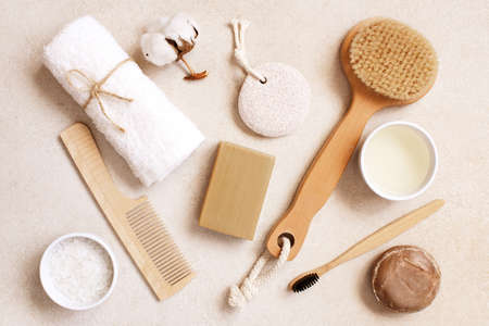 Organic body care and natural personal care products on the light beige table, top view composition Imagens - 120563808