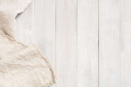 White wooden background decorated with linen napkin, copy space Imagens - 120563815