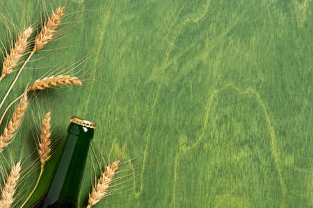 Bright background with beer bottle and ears of wheat on the textured green table, copy space