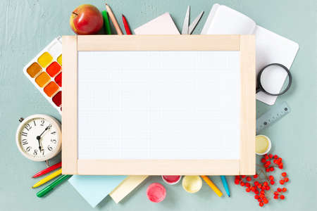 Bright background with school supplies and marker board, beginning of the school year 写真素材