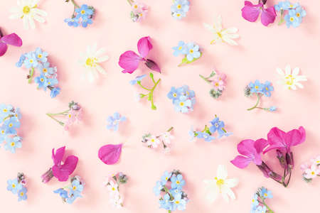 Pattern made of fresh flowers, tender pink composition