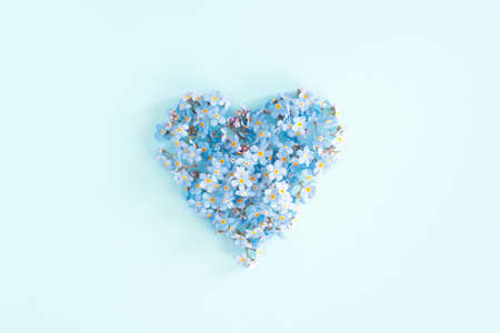 Heart of blue fresh flowers, top view conceptual card Stockfoto