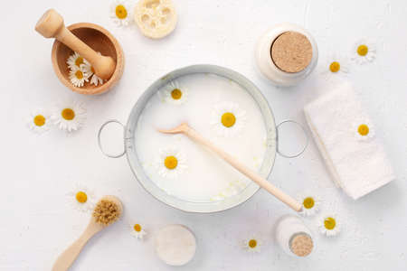 Skin care with natural cosmetics at home, ingredients for home organic personal care, top view