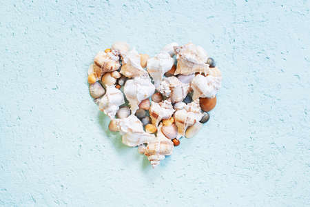 Creative heart shape of various seashells on the textured blue background, honeymoon concept, top view Stockfoto
