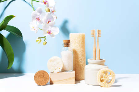 Set of personal care products, concept of zero waste lifestyle, bathroom accessories