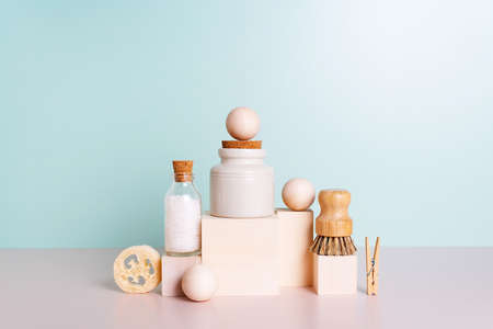 Set of personal care products and household accessories, concept of zero waste lifestyle