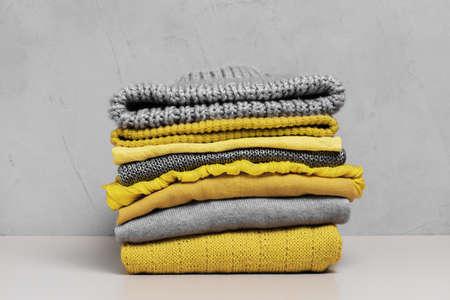 Set of trendy yellow clothes, illuminating color Stockfoto