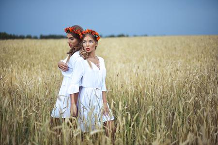 russian girls: two girls Stock Photo