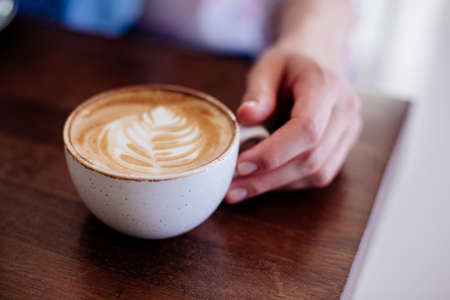 Close up of beautiful female hand holding big white cup of cappuccino coffee. Stock Photo
