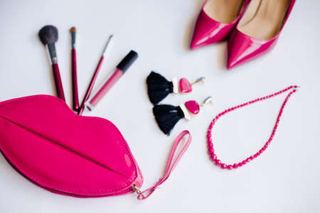 Pink shoes, cosmetics and accessories. Stok Fotoğraf