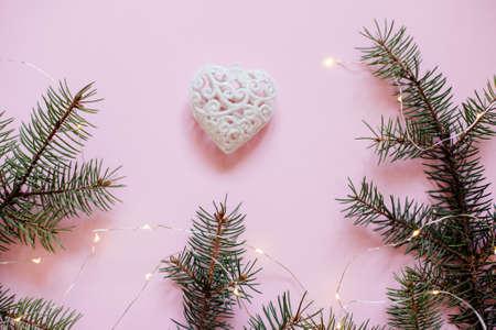 Christmas balls and Christmas tree branches. Stock Photo