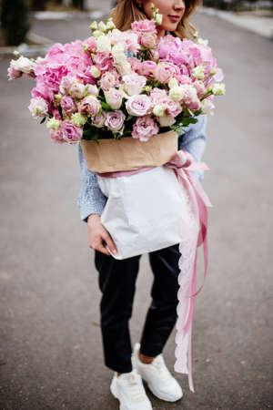 Bouquet of flowers in bag.