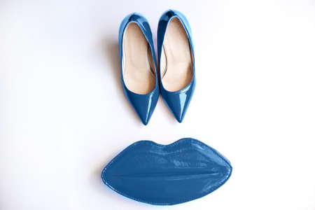 Blue shoes, cosmetics and accessories.