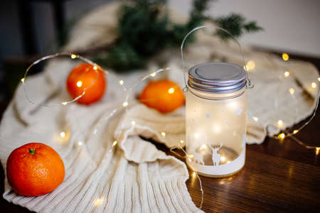 Christmas lights in a glass.