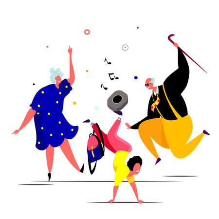 Happy grandparents dansing with their grandson and having fun in a cheerful mood. Elder dancers. Vector flat portrait of old cute loving couple. Cartoon style Character illustration. Healthy lifestyle Ilustração Vetorial
