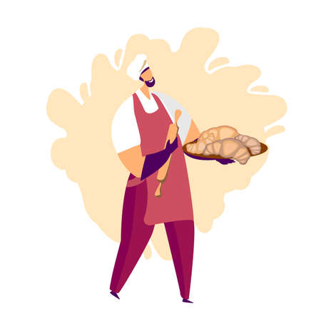 A man showing his croissants and making confections. Confectionery craft process. Flat cartoon colorful vector illustration for advertising, cafe windows, stickers, flyers, invitation to cooking courses