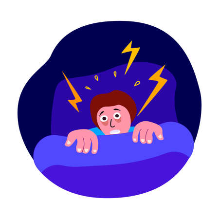 Afraid Trembling Man, Insomnia and Panic Attack. Worried Scared Person Can not Sleep with Disturbance, Fear, Psychosis in Bed at Night. Nightmare Sleeplessness.Frustrated, Phobia.Flat Vector Illustration
