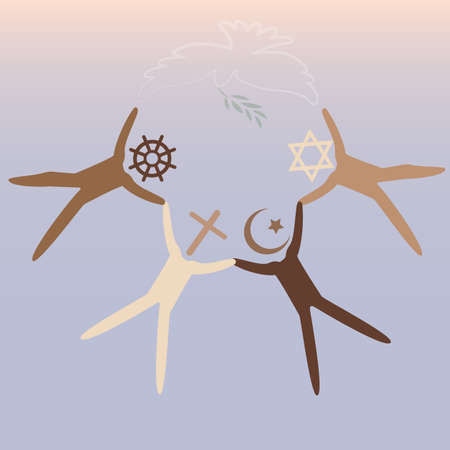 People of different religions. Islam Muslim. Judaism Jew. Buddhism Buddhist. Christianity. Religion vector symbols and characters. Friendship and peace for different creeds Vektorové ilustrace