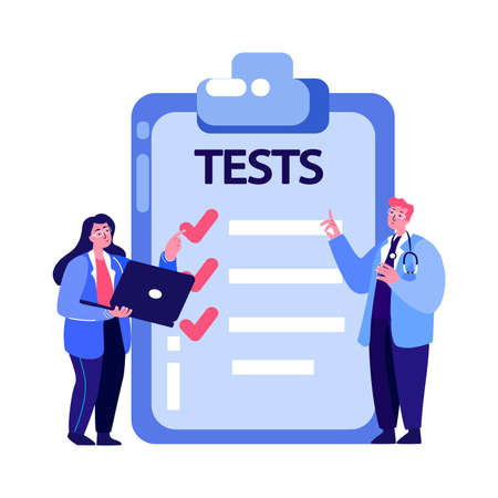 Team of Pharmacist Doctors Virologists Analyze Tests Result.Hospital Treatment, Cure.Medical Research Laboratory.Chemist Physician Biologist Expert.Medicinal Examination Diagnostic. Vector Illustration