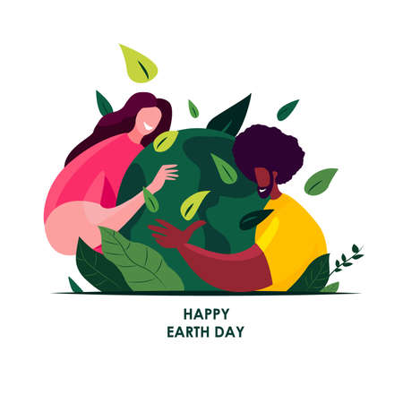 Happy Earth Day International Holiday.22April.Loving People Hug Globe, Care of Planet.Save Healthy Green Nature, Energy, Earth Hour.Environment Friendly, Ecology Support Concept.Flat Vector Illustration.