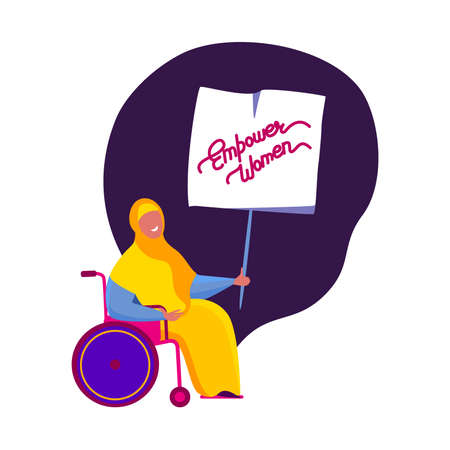 Happy International Woman Day Congratulation.Feminism concept.Bright Muslim Invalid Disabled Girl in Hijab with Poster.Eight of March. Free Confident Women. Female Empowerment.Flat vector illustration