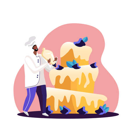 Man Cook Festive Cake with Berry Cream and decorating with leaves. Character in Chef Uniform and Cap Beautify Huge Pie. Bakery Giant Dessert for Birthday or Wedding Cartoon Flat Vector Illustration
