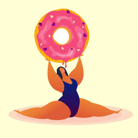 Sweet and body positive card. Fat girl with opened mouth does the splits holding a donut. Being free. Loving yourself and your body. Make your life happy