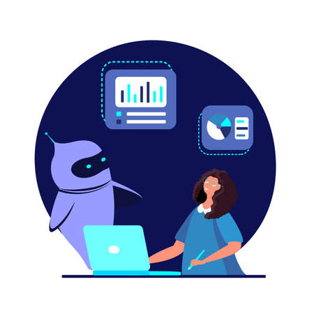 Smart Chat bot, Cyber Robot teaches pupil Financial knowledge in the Internet. Online Education Business School Students, Pupils learning charts, graphs Dialog help service Flat vector illustration