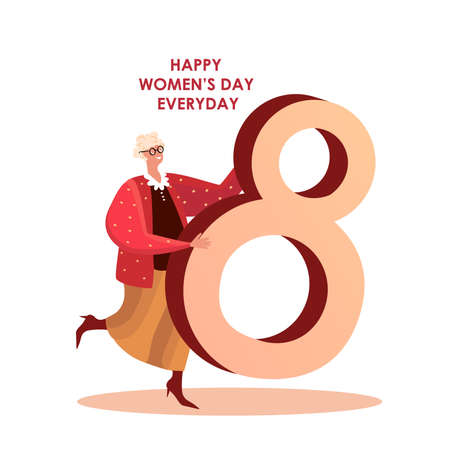 Happy International Woman Day.Feminism Concept.Smilling Old Lady Hold Huge Eighth of March.Free Confident Women Celebrate Holiday.Feminine, Feminism ideas, Female Empowerment.Flat vector illustration