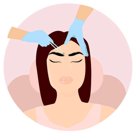 Eyebrows cosmetic Procedures: implantation, Laminating, Extension, Shaping. Flat vector illustration