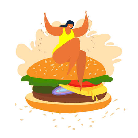Fat overweight woman sitting on a huge burger. She is happy being free as she is. Loving yourself and your body. Make your life tasty and happy. Vector flat illustration Vector flat illustration