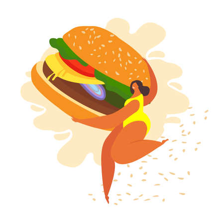 Fat overweight woman run carrying a huge burger. She is happy being free as she is. Loving yourself and your body. Make your life tasty and happy. Vector flat illustration Vector flat illustration