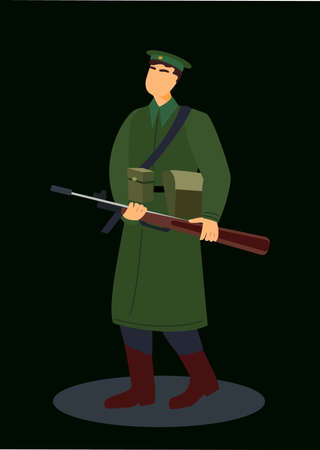 Guard Officer Soldier Military Man, Personnel Army Dressed in Camouflage Uniform.Soldier, Secret service agent, Combat, Serdeant, Capitan, Army Man, Guard House with Weapon.Flat Cartoon Vector illustration Vektoros illusztráció