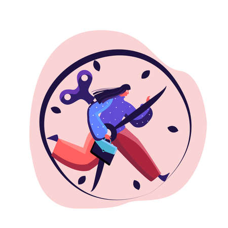 Overwhelmed businesswoman is in a hurry being late for meeting, Rushing to Implement her Business Idea, Carrying hes attache case and holding clock hand to stop. Exhausted worker. Flat illustration
