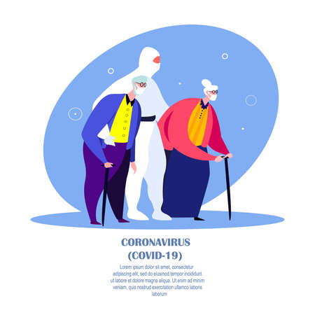 Coronavirus Pandemic.Epidemic Quarantine Isolation.Novel COVID 2019, Old Infected Ill Sick Pensioner Woman, Man in Medical Face Mask with Doctor in Protective Suit in Hospital. Flat Vector Illustration Vector Illustration