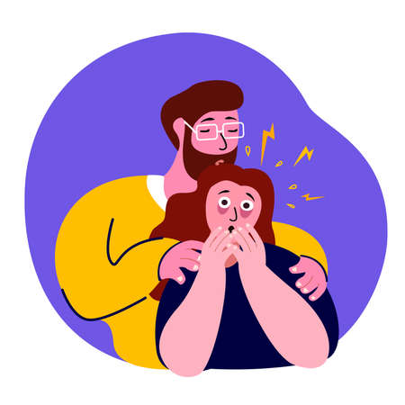 Man Hug Support, Maintain Afraid Nervous Trembling Woman, Panic Attack.Worried Scared Boy.Disturbance, Fever, Fear, Psychosis.Neurotic Alarm Frustrated, Phobia.Scared Psyco Stressed.Flat Vector Illustration