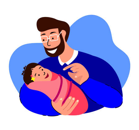 Happy Smiling Family.Loving Man Talking, Dandling, Playing with Newborn Baby Caring, Nursing in Hands.Paternity Father Lullaby.Dad, Cheerful Child. Fatherhood Support. Birth Kid. Flat Vector Illustration Ilustração Vetorial