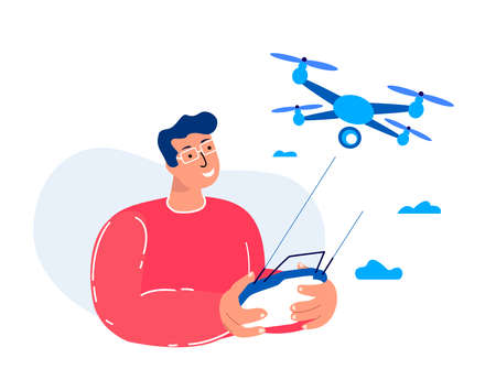 Young Man Fly Drone Equipment.Remotely Control Digital Device.Flying Robot.Engineering Mechanism Airscrew. Remotely Piloted Flying Aircraft. Development Experimental Amusement Fun. Vector Illustration