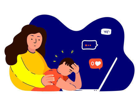 Woman Mother Hug Support, Maintain Disappointed Depressed Son.Teenager Boy, No Zero Like, Dislike.Worried, Sad Anxited Frustrated.Upset Stressed Adolescent.Mom Protect Teen Child.Flat Vector Illustration