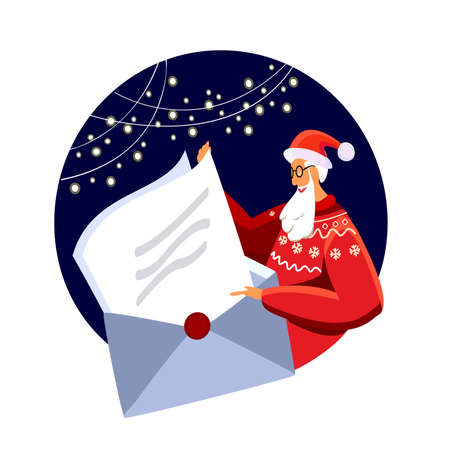 Merry Christmas Wishes. Santa Claus in Traditional winter sweater Costume Reading a huge opened letter with Xmas Desires Banner. Greeting festive congratulation card Cartoon Flat Vector Illustration